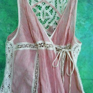 Free People Vintage Boho NEW Lace Red Ivory Stripe
